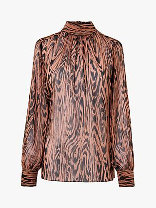 L.K.Bennett Dora High Neck Silk Blouse, Brown