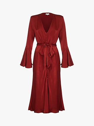Ghost Annabelle Satin Dress, Russet Brown