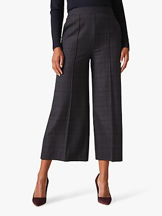 Phase Eight Jazlyn Check Culottes, Navy