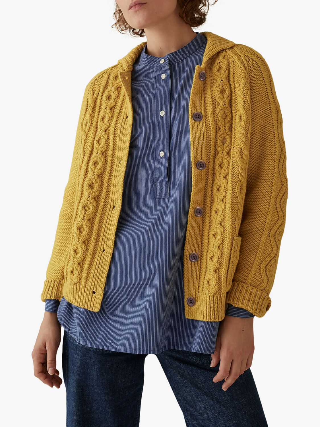 Toast Toast Wool Cotton Collared Cardigan, Pale Gold