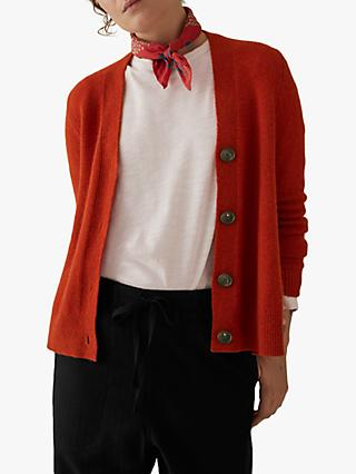 Toast Wool Cashmere Swingy Cardigan, Bright Rust