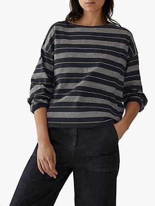 Toast Stripe Gathered Sleeve T-Shirt, Midnight Fog