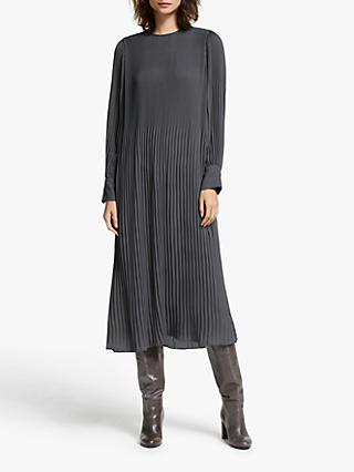 Modern Rarity Plisse Midi Dress, Charcoal Grey