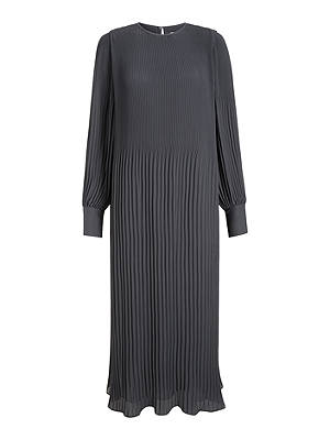 Buy Modern Rarity Plisse Midi Dress, Charcoal Grey, 8 Online at johnlewis.com