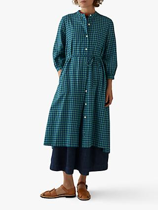 Toast Kala Check Shirt Dress, Blue/Green