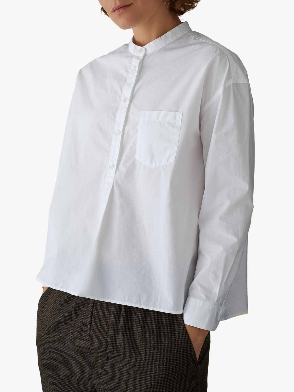 Toast Toast Poplin Collarless Shirt, Pure White
