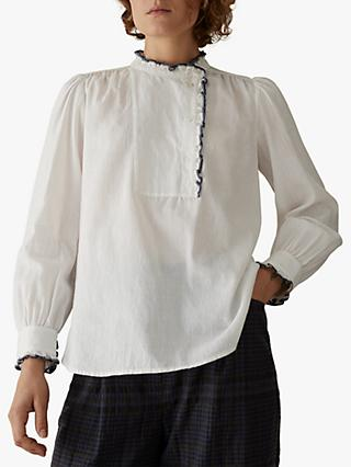 Toast Cotton Asymmetric Shirt, Off White/Navy