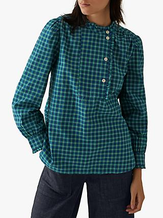 Toast Kala Check Asymmetric Shirt, Blue/Green