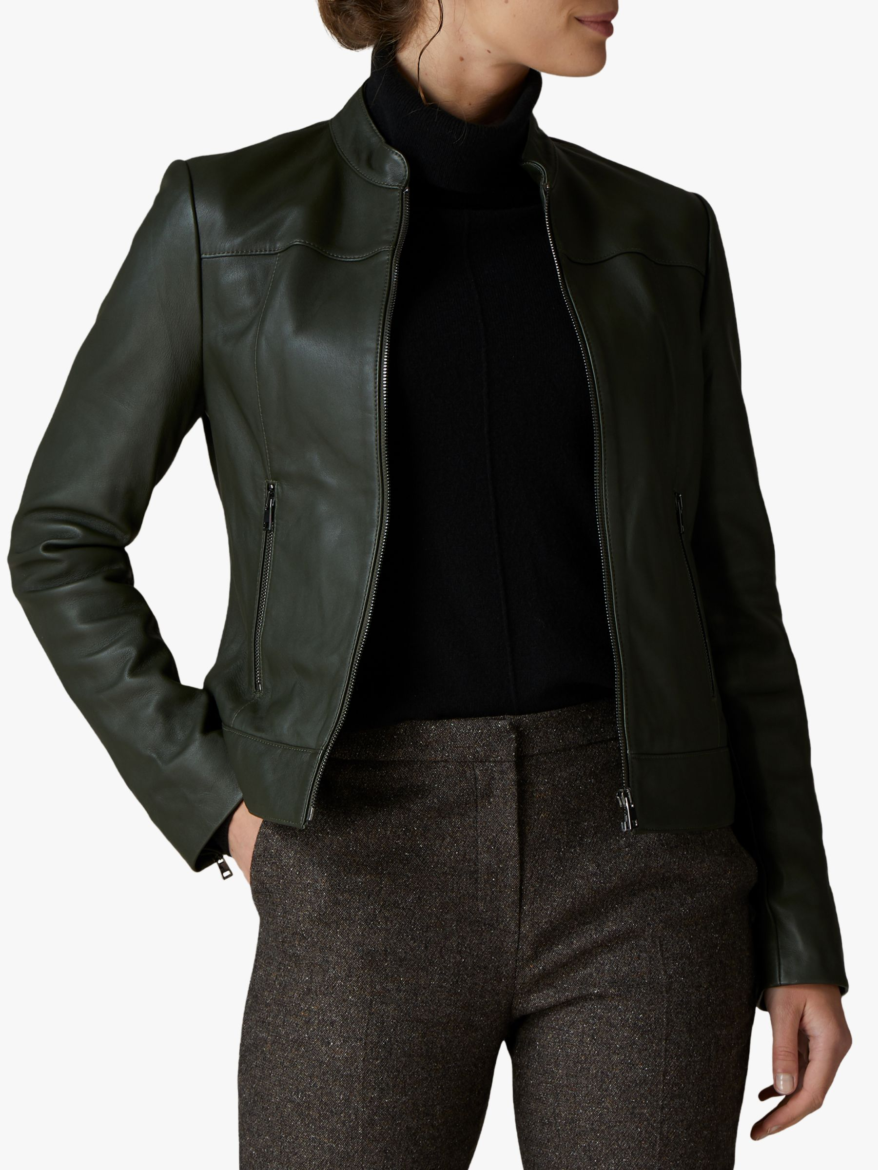 Jaeger Jaeger Stand Collar Leather Biker Jacket, Green