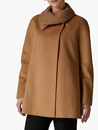 Jaeger Knit Collar A-Line Wool Coat, Camel