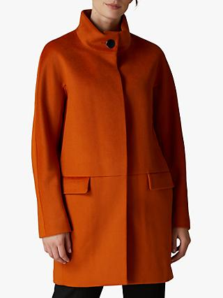 Jaeger Collar Cocoon Wool Coat, Orange