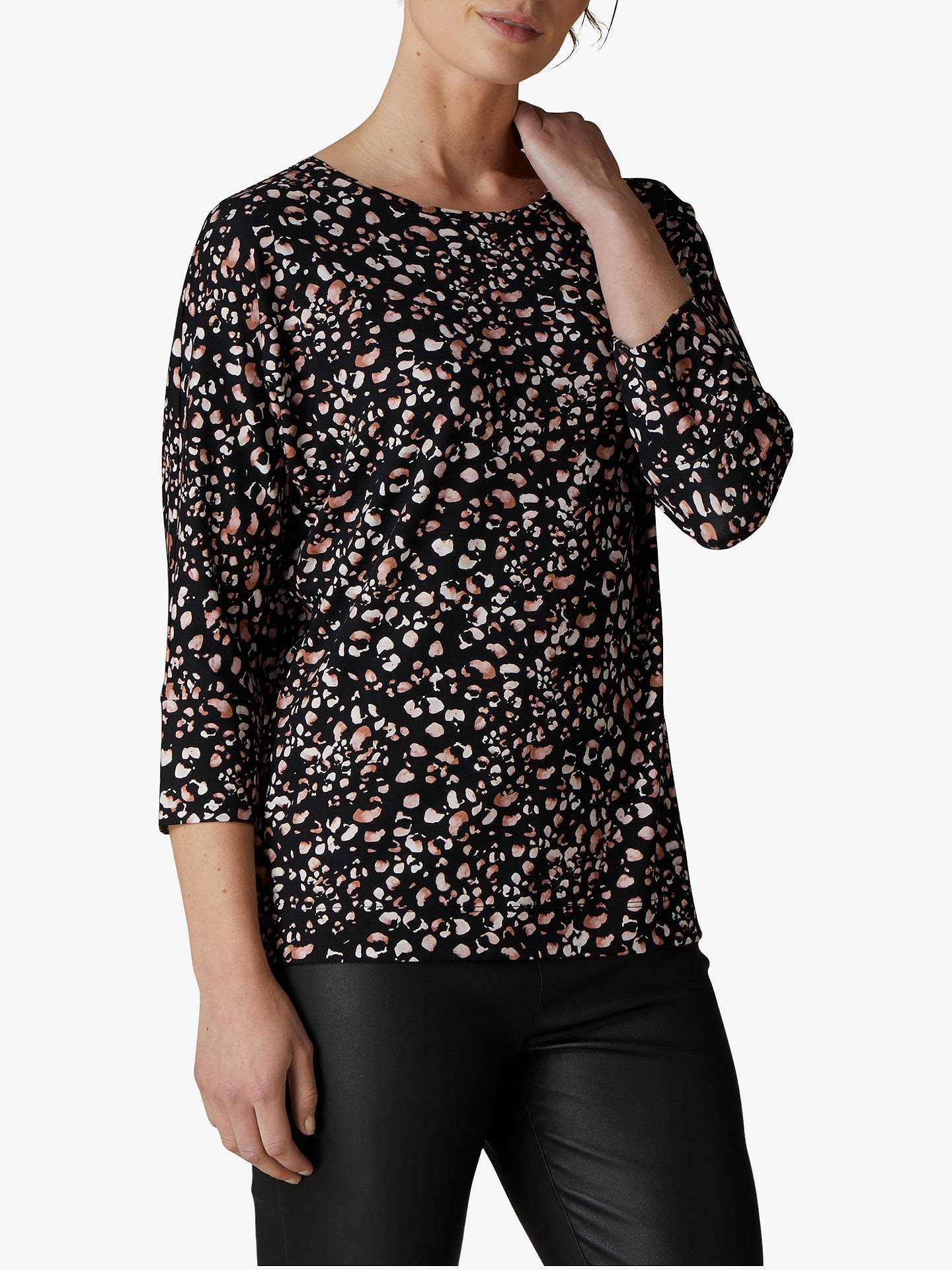 Buy Jaeger Ditsy Jersey Top, Multi, XS Online at johnlewis.com