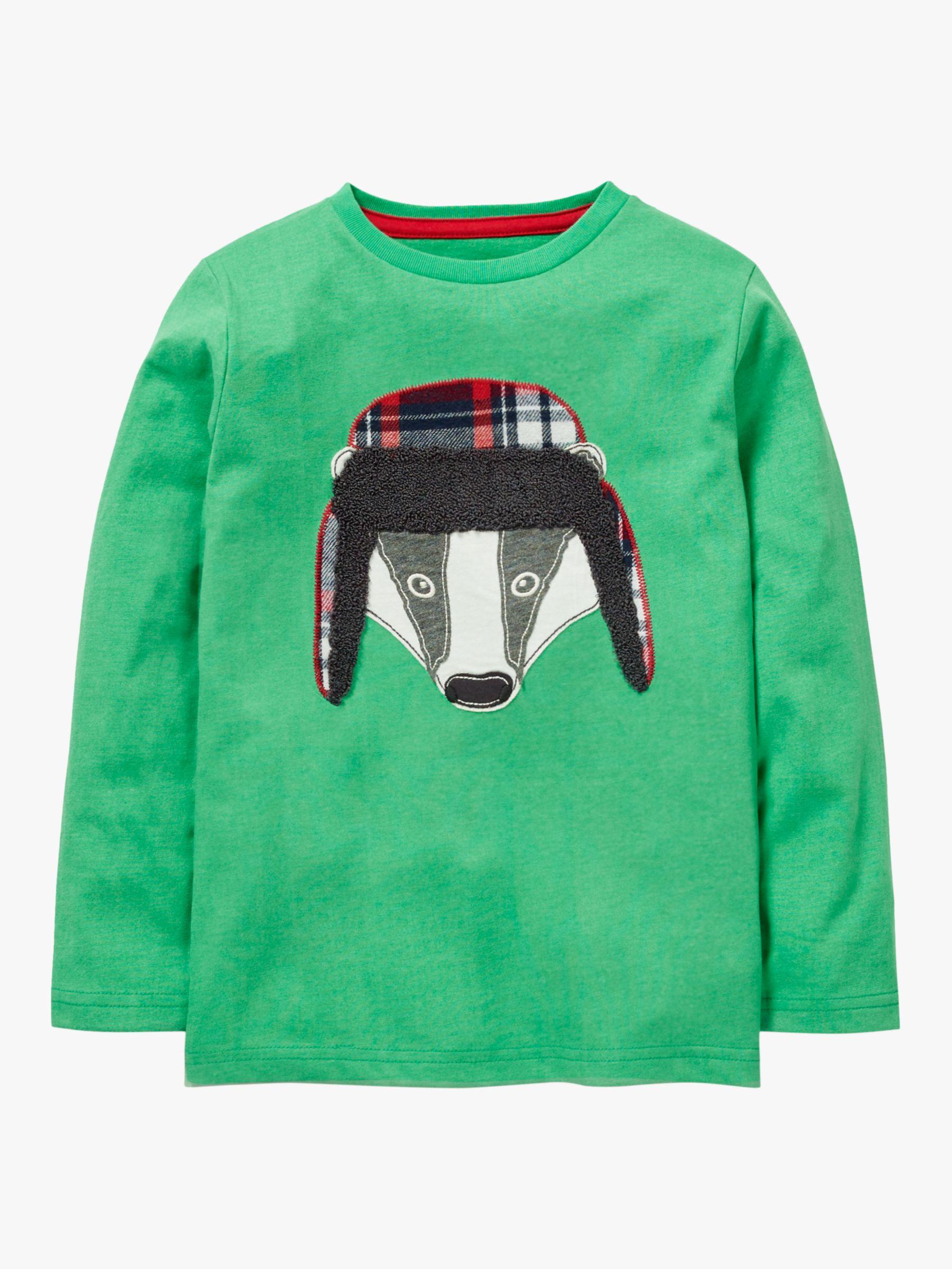 NEW Mini Boden kid boys top tee shirt applique logo adventure animal long sleeve