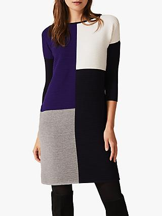 Phase Eight Cher Ripple Jumper Dress, Navy/Multi
