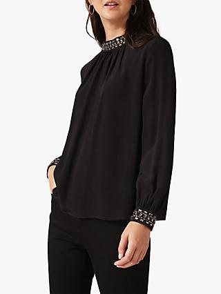 Phase Eight Aquila Embellished Blouse, Black