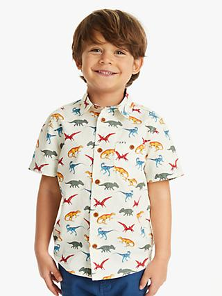 John Lewis & Partners Boys' Dinosaur Shirt, Neutral/Multi