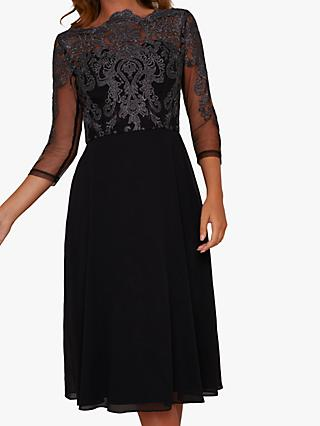 Chi Chi London Myara Embroidered Midi Dress, Black