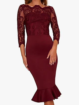 Chi Chi London Harlia Bodycon Dress, Burgundy