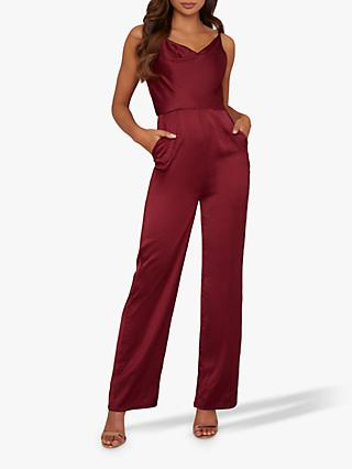 Chi Chi London Thalia Wide Leg Jumpsuit, Burgundy