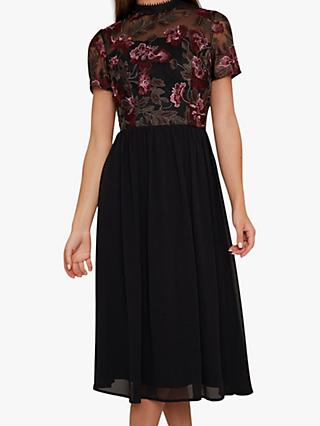 Chi Chi London Tashy Embroidered Midi Dress, Black