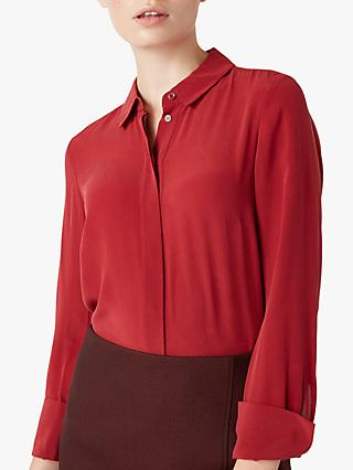 Hobbs Odette Silk Shirt, Scarlett Red