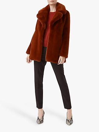 Hobbs Bethany Faux Fur Coat, Toffee