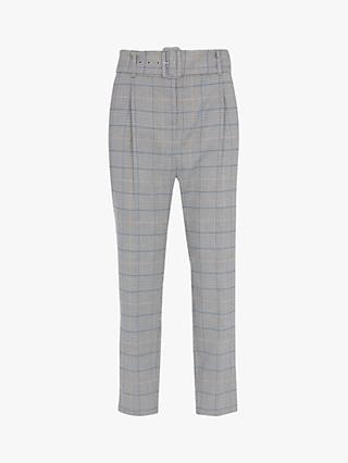 Mint Velvet Check Belted Tapered Trousers, Multi