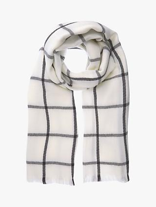 Mint Velvet Check Scarf, Cream