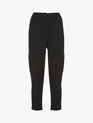 Mint Velvet Textured Utility Trousers, Black