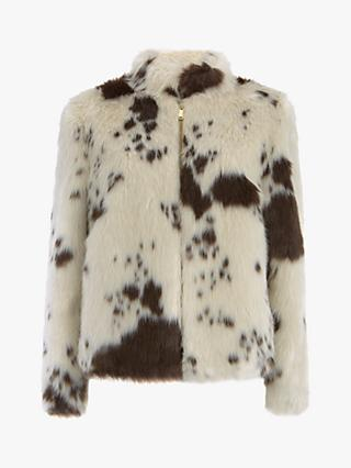 Mint Velvet Cow Print Faux Fur Cropped Jacket, Multi