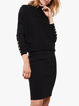 Mint Velvet Batwing Knit Midi Dress, Black
