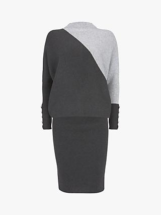 Mint Velvet Blocked Batwing Knit Midi Dress, Dark Grey