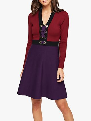Damsel in a Dress Jetta Colour Block Dress, Burgundy/Purple