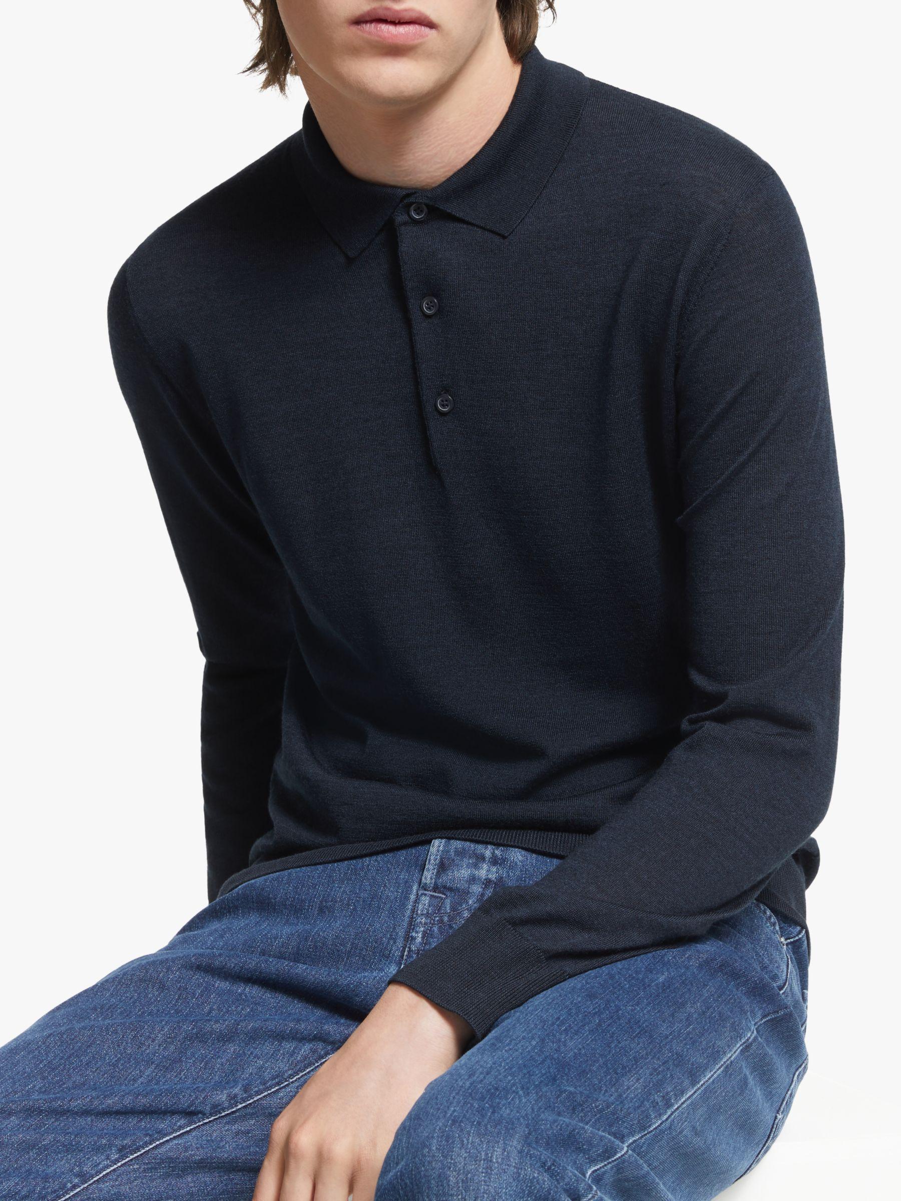 J.LINDEBERG J.Lindeberg Luciano Wool Silk Polo Shirt, JL Navy