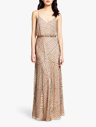 Adrianna Papell Blouson Beaded Maxi Dress, Taupe/Pink