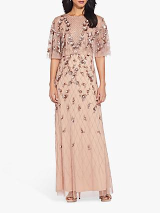 Adrianna Papell Bead Cape Dress, Rose Gold