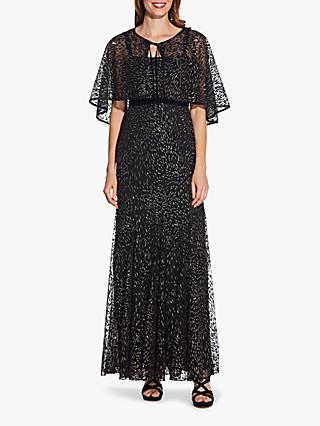 Adrianna Papell Removable Cape Glitter Velvet Gown, Black/Gold