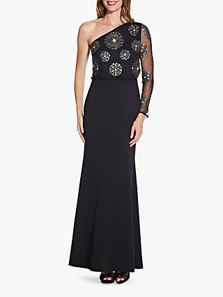 Adrianna Papell Beaded One Sleeve Asymmetric Maxi Dress, Black