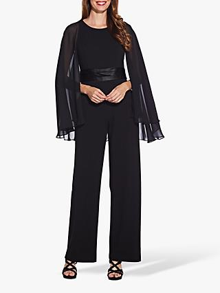 Adrianna Papell Long Cape Sleeve Jumpsuit, Black