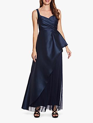 Adrianna Papell Mikado Satin Pleated Maxi Dress