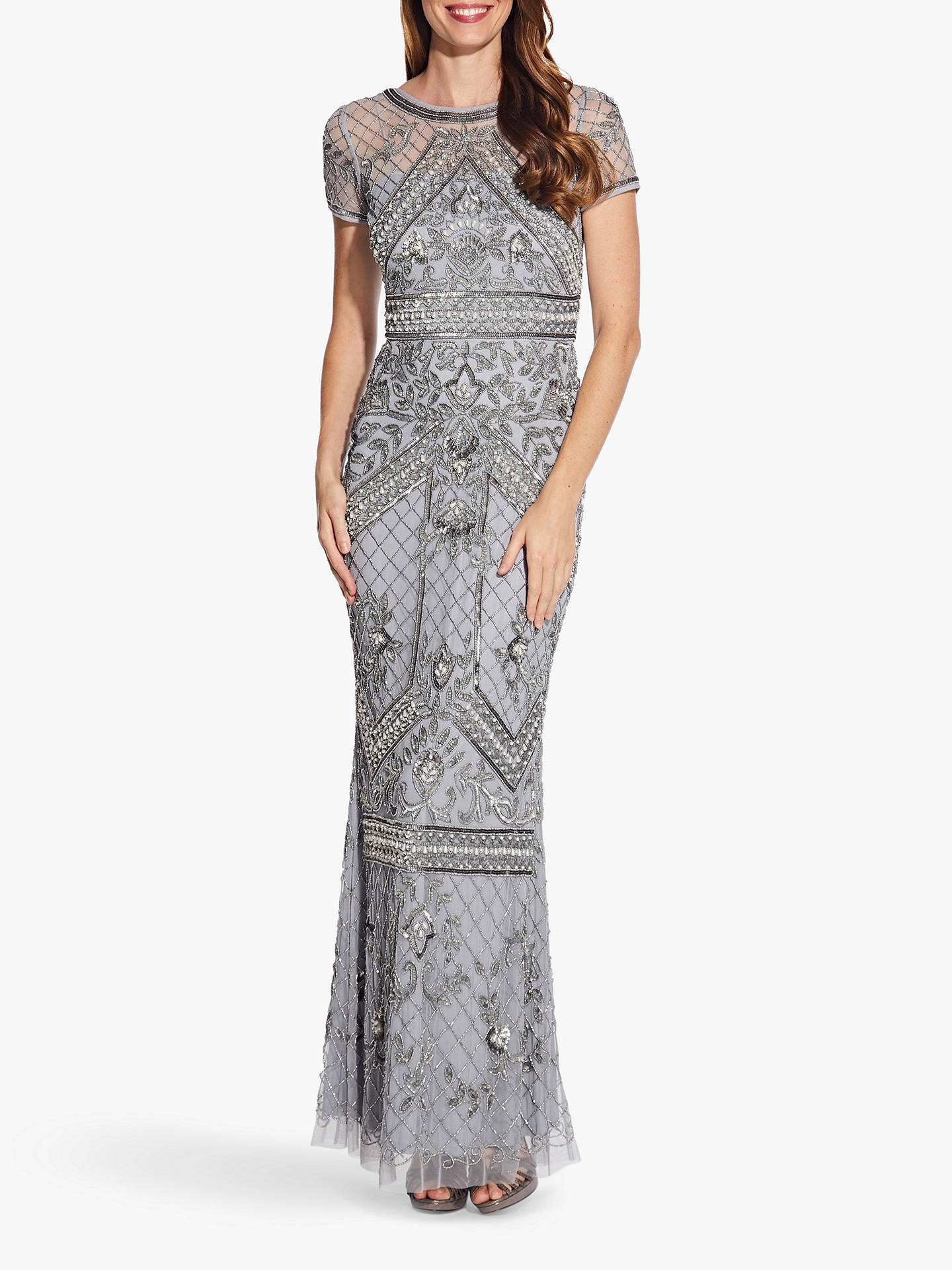 Adrianna Papell Sequin Evening Dress With Beaded Waist Detail Silver Mist At John Lewis Partners