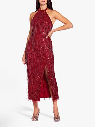 Adrianna Papell Beaded Halter Neck Midi Dress, Cranberry