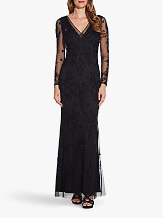 Adrianna Papell Beaded Swirl Dress, Black