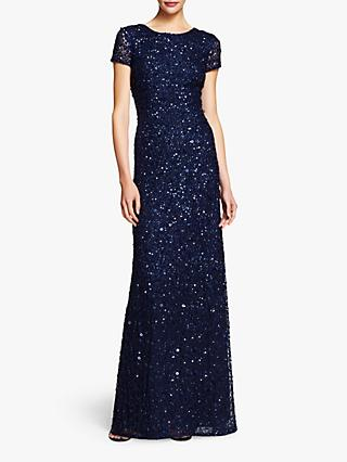 Adrianna Papell Scoop Back Sequin Evening Dress, Navy
