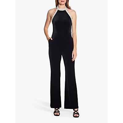 Adrianna Papell Halter Wide Leg Velvet Jumpsuit, Black