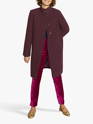 Jigsaw Urban Boucle Funnel Neck Coat, Plum Rose