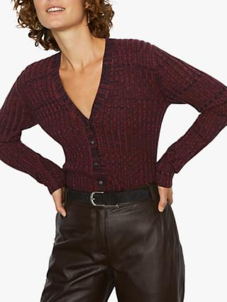 Jigsaw Moulinee Rib Cardigan, Wine