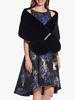 Adrianna Papell Faux Fur Crystal Wrap, Black