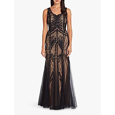 Adrianna Papell Beaded Long Dress, Black Nude