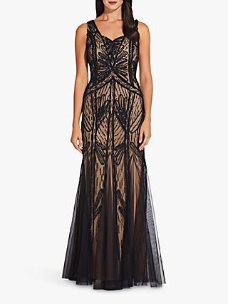 Adrianna Papell Beaded Long Dress, Black Nude